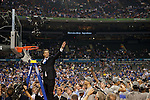 02 APR 2012:  Head coach John Calipari of the University of Kentucky celebrates their win during the 2012 NCAA Men's Division I Basketball Championship Final Four held at the Mercedes-Benz Superdome hosted by Tulane University in New Orleans, LA.  The University of Kentucky beat the University of Kansas 67-59. Joshua Duplechian/ NCAA Photos