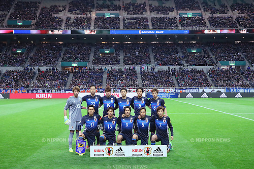 Japan team group line-up (JPN), <br /> MARCH 24, 2016 - Football / Soccer : <br /> FIFA World Cup Russia 2018 Asian Qualifier Second Round Group E match between<br /> Japan 5-0 Afghanistan <br /> at Saitama Stadium 2002 in Saitama, Japan.<br /> (Photo by Yohei Osada/AFLO SPORT)