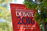 Hempstead, New York, USA. September 13, 2016. Hofstra University Debate 2016 banner, in patriotic red white and blue, is one of many displayed on the campus of Hofstra University, which will host the first Presidential Debate, between H.R. Clinton and D. J. Trump, scheduled for later that month on September 26. Hofstra is first university ever selected for 3 consecutive U.S. presidential debates.