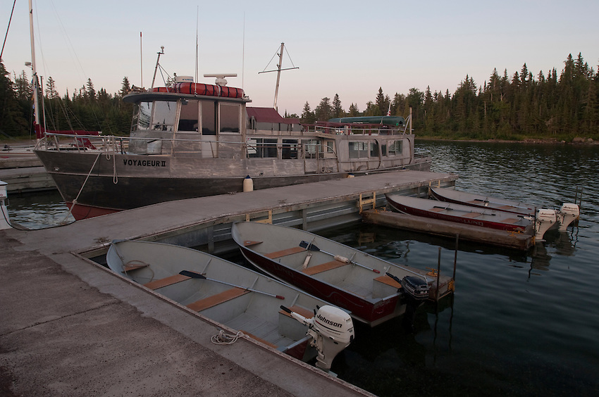 Marina at Rock Harbor at Isle Royale National Park.