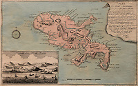 Map of the island of Martinique, watercolour engraving published c. 1762 in Nuremberg, with text explaining the island's history, in the Musee d'Aquitaine, Cours Pasteur, Bordeaux, Aquitaine, France. Martinique was occupied by the French in 1637, attacked by the Dutch in 1674 and the English in 1693 and taken by Amiral Rodney in 1762. On the left is the attack of the royal fort by the English fleet. Picture by Manuel Cohen