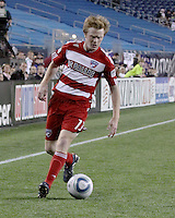 FC Dallas midfielder/forward Dax McCarty(13) receives a pass near the New England corner.  The New England Revolution drew FC Dallas 1-1, at Gillette Stadium on May 1, 2010