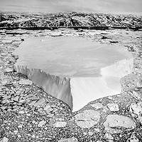 An aerial view of the Ilulissat Glacier in Disko Bay, northwestern Greenland.