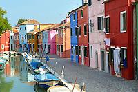 Colorful houses, Fondementi Pontinella Destro, Burano Venice Italy
