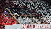 FUSSBALL  SUPERCUP  FINALE  2013  in Prag    FC Bayern Muenchen - FC Chelsea London          30.08.2013 Fan-Choreografie des FC Bayern mit einem Poster und dem Spruch OONA BASST NO NEI !!! sowie den Abbildungen von Uefa Pokal, Champions League Pokal, Meisterschale, DFB Pokal, Pokal der Pokalsieger