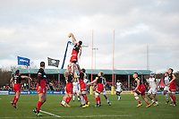 Forwards compete for the ball at a lineout. Aviva Premiership match, between Saracens and Bath Rugby on January 30, 2016 at Allianz Park in London, England. Photo by: Patrick Khachfe / Onside Images