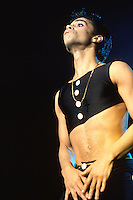 Prince - performing live on the Parade Tour at Wembley Arena in . London UK- 14 Aug 1986.  Photo credit: George Chin/IconicPix