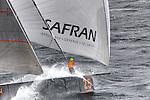 The Open 60 Safran in preparation for the Transat Jacques Vabre 2011, skipper Marc Guillemot co/skipper Yann Eliés, Brittany, France.