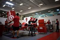 Current IndyCars under preparation in the Ganassi shop for offseason testing.