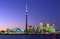 Canada, Ontario, Toronto skyline at dusk