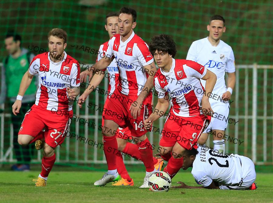 Fudbal Jelen Super League season 2014-2015 <br /> Cukaricki v Crvena Zvezda<br /> Luka Jovic (R) Savo Pavicevic (C) Aleksandar Katai (L) Obeng Regan (DOWN)<br /> Beograd, 10.05.2015.<br /> foto: Srdjan Stevanovic/Starsportphoto&copy;