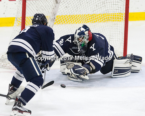 Robbie DeMontis (Yale - 9), Patrick Spano (Yale - 30) - The Harvard University Crimson tied the visiting Yale University Bulldogs 1-1 on Saturday, January 21, 2017, at the Bright-Landry Hockey Center in Boston, Massachusetts.