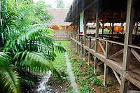 Refugio Amazonas jungle lodge in heavy rain, Tambopata River, Peru