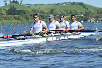 Hamilton, NEW ZEALAND.USA M- . Bow Giuseppe LANZONE, Henrik RUMMEL, Sam STITT and Silas STAFFORD, at the start of the Men's four. 2010 World Rowing Championship on Lake Karapiro Monday 01.11.2010. [Mandatory Credit Peter Spurrier:Intersport Images].