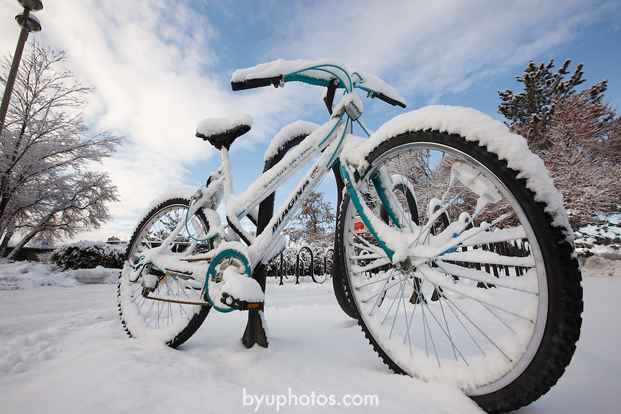 1301-05 299<br /> <br /> 1301-05 Campus, covered in snow, winter, bike<br /> <br /> January 28, 2013<br /> <br /> Photo by Bella Torgerson/BYU Photo<br /> <br /> &copy; BYU PHOTO 2013<br /> All Rights Reserved<br /> photo@byu.edu  (801)422-7322