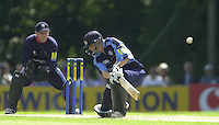 .14/07/2002 - Sport - Cricket- Norwich Union League..Middlesex Crusaders vs Gloucester Gladiators.Alex Gidman sweeps the ball from the bowling of James Dalrymple.