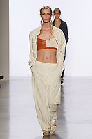 Model walks runway in an outfit by Jessica Li, for the 2017 Pratt fashion show on May 4, 2017 at Spring Studios in New York City.