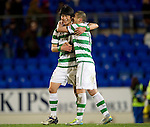 St Johnstone v Celtic...18.12.11   SPL .Ki Sung Yueng gets a hug from Char Du Ri.Picture by Graeme Hart..Copyright Perthshire Picture Agency.Tel: 01738 623350  Mobile: 07990 594431