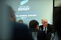Outgoing president David Rhodes. The 2017 New Zealand Rugby Union Annual General Meeting at the New Zealand Rugby Union Head Office in Wellington, New Zealand on Thursday, 27 April 2017. Photo: Dave Lintott / lintottphoto.co.nz