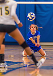 26 October 2014: Yeshiva University Maccabee Defensive Specialist Carol Jacobson, a Senior from Seattle, WA, in action against the College of Mount Saint Vincent Dolphins, in Riverdale, NY. The Dolphins defeated the Maccabees 3-0 in the NCAA Division III Women's Volleyball Skyline matchup. Mandatory Credit: Ed Wolfstein Photo *** RAW (NEF) Image File Available ***
