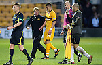 Motherwell v St Johnstone...28.01.12  .Stuart McCall gives Shaun Hutchinson a pat on the back at full time.Picture by Graeme Hart..Copyright Perthshire Picture Agency.Tel: 01738 623350  Mobile: 07990 594431