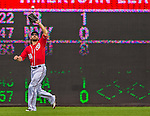 27 July 2013: Washington Nationals outfielder Jayson Werth pulls in a fly ball by the New York Mets at Nationals Park in Washington, DC. The Nationals defeated the Mets 4-1. Mandatory Credit: Ed Wolfstein Photo *** RAW (NEF) Image File Available ***