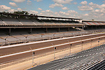 USA, Indiana, Indianapolis Motor Speedway, bleachers at scene of the annual Indy 500 car race.