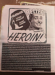A poster was put up by Dante who wrote about his drug of choice,  heroin, on Haight Street in San Francisco, California.