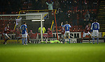 Aberdeen v St Johnstone..22.12.12      SPL.Alan Mannus lies flat out after Niall McGinn beats him at his near post with a free kick.Picture by Graeme Hart..Copyright Perthshire Picture Agency.Tel: 01738 623350  Mobile: 07990 594431