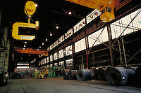 Interior shot of unloading area at steel fabrication plant. Birmingham Alabama, Copperweld.