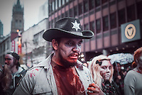 Montreal - Canada - October 25 - the annual Zombie  Walk in downtown Montreal, October 25, 2014.<br /> <br /> Photo : Agence Quebec Presse - Philippe Nguyen
