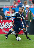 22 May 2010: New England Revolution defender Corey Gibbs #12 in action during a game between the New England Revolution and Toronto FC at BMO Field in Toronto..Toronto FC won 1-0.....