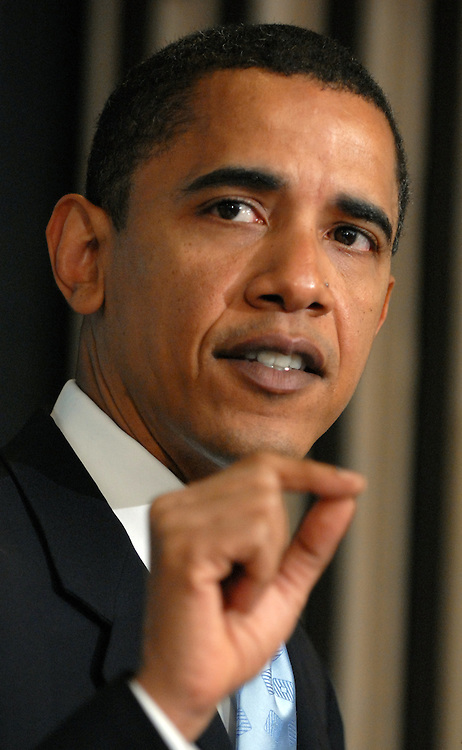 """Sen. Barack Obama, D-Ill., spoke at the National Press Club for """"SAVE DARFUR: Rally to Stop Genocide."""" Sens Sam Brownback, R-Kan., and actor George Clooney, also attended."""