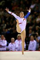 Oct 18, 2006; Aarhus, Denmark; Anna Pavlova of Russia performs on floor exercise during women's gymnastics team final at 2006 World Championships Artistic Gymnastics.