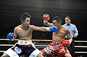 (L-R) Hiroyuki Hisataka (JPN), Hugo Cazares (MEX), DECEMBER 23, 2010 - Boxing : Hiroyuki Hisataka of Japan in action against Hugo Fidel Cazares of Mexico during the 2nd round of the WBA super flyweight title bout at Osaka Prefectural Gymnasium in Osaka, Osaka, Japan. (Photo by Mikio Nakai/AFLO).
