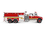 Fire truck pumper, conventional fire engine side view isolated on white background with clipping path