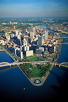 The Allegheny River and the Monongahela River join to form the Ohio River at The Point Park shown in this aerial of Pittsburgh. Pittsburgh Pennsylvania United States Golden Triangle.