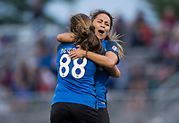 Boyds, MD - Saturday May 20, 2017: Alexa Newfield and Lo'eau Labonta during a regular season National Women's Soccer League (NWSL) match between the Washington Spirit and FC Kansas City at Maureen Hendricks Field, Maryland SoccerPlex.