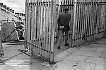 Derry Northern Ireland Londonderry. 1979. British soldiers on patrol at Butchers Gate,  a gateway through the old city wall and into the commercial centre of Derry.