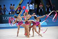 August 31, 2013 - Kiev, Ukraine -  USA RHYTHMIC GROUP performs with ribbon + ball at 2013 World Championships.