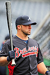 31 March 2011: Atlanta Braves second baseman Dan Uggla awaits his turn in the batting cage prior to the Opening Day festivities and game against the Washington Nationals at Nationals Park in Washington, District of Columbia. The Braves shut out the Nationals 2-0 to open the 2011 Major League Baseball season. Mandatory Credit: Ed Wolfstein Photo