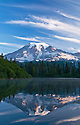 Mount Rainier at sunrise from Ben Lake; Mount Rainier National Park, Washington.