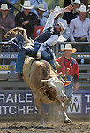 Tyler Willis, from Wheatland, WY.,  tries to hang onto Mud Bath during the Xtreme Bull Riding Competition at the Kitsap County Fair and Stampede  held Aug. 26 to Aug. 30, 2009 in Silverdale, WA. Jim Bryant Photo. All Right Reserved. © 2009