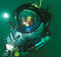 Dr. Sylvia Earle sits in a tiny one person submersible called the Deep Worker. Drakes Bay, CA