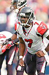 25 September 2005: Michael Vick, Quarterback for the Atlanta Falcons, gets back to the huddle during a game against the Buffalo Bills. The Falcons defeated the Bills 24-16 at Ralph Wilson Stadium in Orchard Park, NY.<br /><br />Mandatory Photo Credit: Ed Wolfstein.