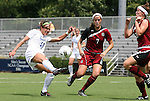 21 August 2011: Duke's Laura Weinberg (16) and South Carolina's Elizabeth Sinclair (7) and Andie Romness (21). The Duke University Blue Devils defeated the University of South Carolina Gamecocks 2-0 at Koskinen Stadium in Durham, North Carolina in an NCAA Women's Soccer game.