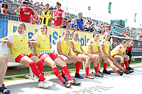 Cary, North Carolina  - Sunday May 21, 2017: Chicago substitutes prior to a regular season National Women's Soccer League (NWSL) match between the North Carolina Courage and the Chicago Red Stars at Sahlen's Stadium at WakeMed Soccer Park. Chicago won the game 3-1.