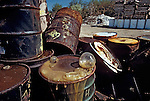 Toxic chemical industrial waste oozes from leaking barrels at the Pollution Abatement Services Site, a failed disposal firm (P.A.S.) Declared a Superfund site by the Environmental Protection Agency in the early 1980s. The Oswego, New York Site is one mile from Lake Ontario, one of the Great Lakes.