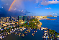 Aerial view of the Ala Wai Yacht Harbor with Waikiki and Diamond Head in back, Honolulu, Oahu, Hawaii, USA