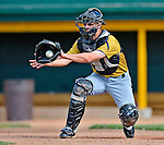 8 July 2012: State College Spikes catcher Ryan Hornback warms up prior to a game against the Vermont Lake Monsters at Centennial Field in Burlington, Vermont. The Lake Monsters rallied from a 2-0 late inning deficit, to defeat the Spikes 8-2 in NY Penn League action. Mandatory Credit: Ed Wolfstein Photo